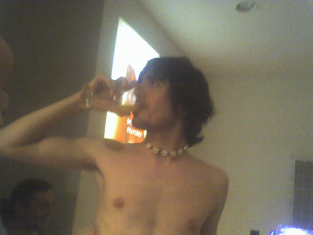 Andy drinking
